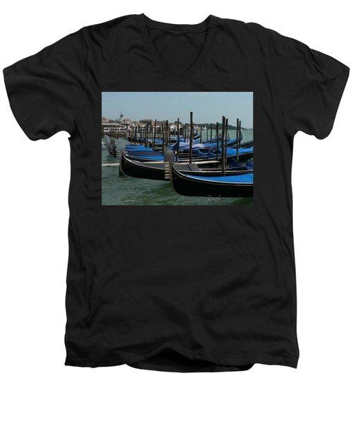 Men's V-Neck T-Shirt featuring the photograph Gondolas by Laurel Best