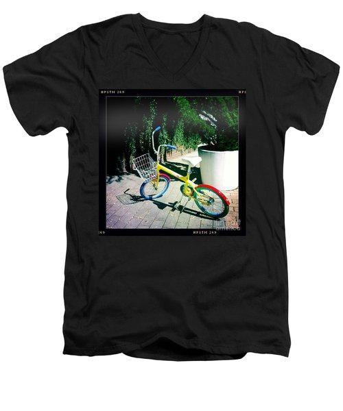Men's V-Neck T-Shirt featuring the photograph Google Mini Bike by Nina Prommer