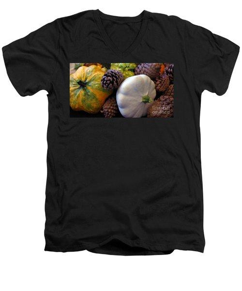 Men's V-Neck T-Shirt featuring the photograph Gourds 6 by Deniece Platt