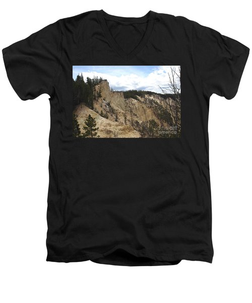 Men's V-Neck T-Shirt featuring the photograph Grand Canyon Cliff In Yellowstone by Living Color Photography Lorraine Lynch