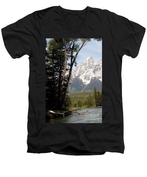 Men's V-Neck T-Shirt featuring the photograph Grand Tetons Vertical by Living Color Photography Lorraine Lynch