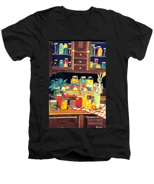 Men's V-Neck T-Shirt featuring the painting Granny's Cupboard by Julie Brugh Riffey