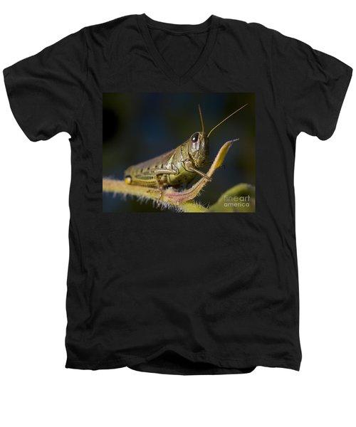 Men's V-Neck T-Shirt featuring the photograph Grasshopper by Art Whitton