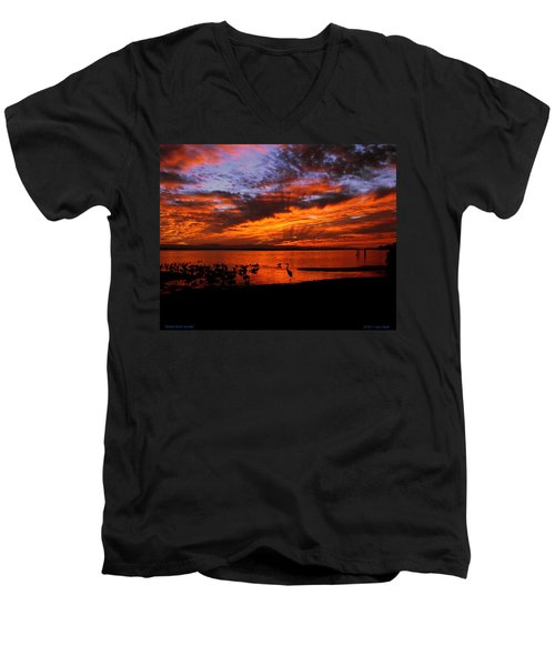 Great Heron Sunset Men's V-Neck T-Shirt