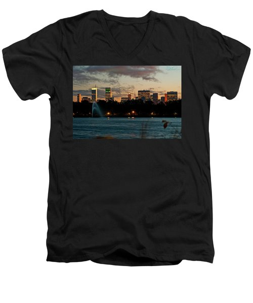 Great Pond Fountain Men's V-Neck T-Shirt