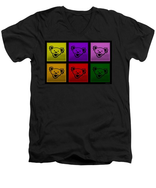 Greatful Dead Dancing Bears In Multi Colors Men's V-Neck T-Shirt