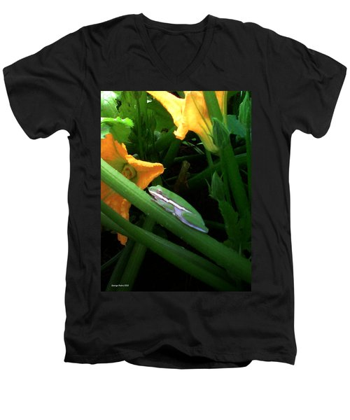 Men's V-Neck T-Shirt featuring the photograph Guardian Of The Zucchini by George Pedro