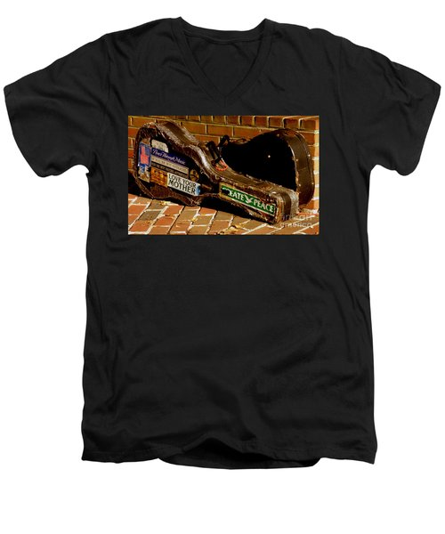 Guitar Case Messages Men's V-Neck T-Shirt by Lainie Wrightson