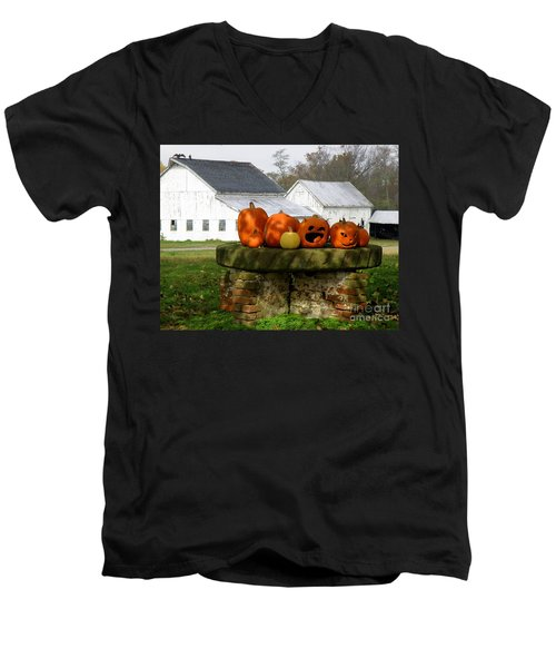 Halloween Scene Men's V-Neck T-Shirt by Lainie Wrightson