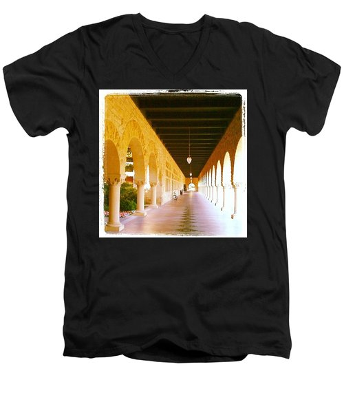 Halls Of Learning - Stanford University Men's V-Neck T-Shirt by Anna Porter