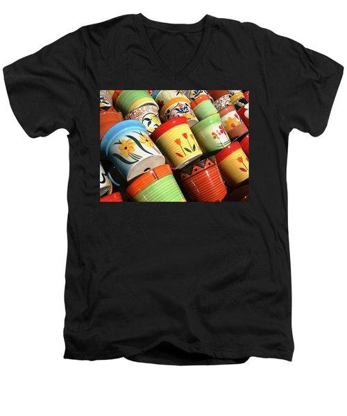 Hand Decorated Flower Pots Men's V-Neck T-Shirt