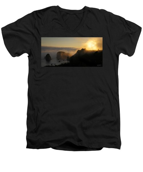 Men's V-Neck T-Shirt featuring the photograph Harris Beach Sunset Panorama by Mick Anderson