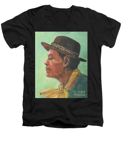 Hat And Yellow Scarf Men's V-Neck T-Shirt