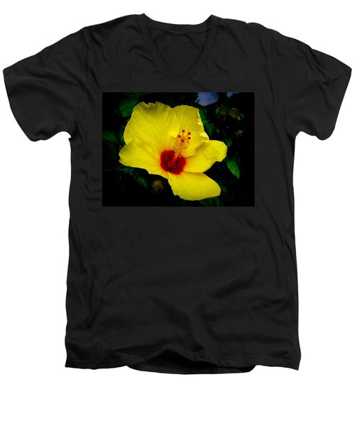 Men's V-Neck T-Shirt featuring the photograph Hawaiian Yellow Hibiscus by Athena Mckinzie
