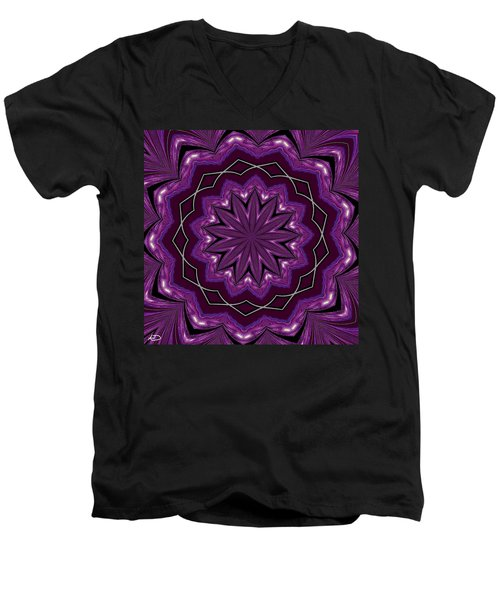 Men's V-Neck T-Shirt featuring the digital art Heather And Lace by Alec Drake