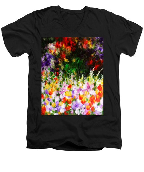Men's V-Neck T-Shirt featuring the painting Heavenly Garden by Kume Bryant