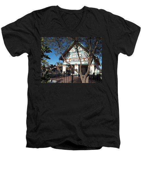Hemet Museum-old Santa Fe Depot Men's V-Neck T-Shirt