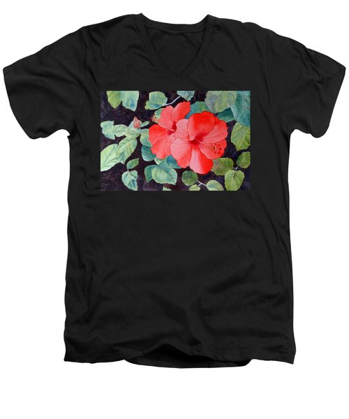 Men's V-Neck T-Shirt featuring the painting Hibiscus by Laurel Best