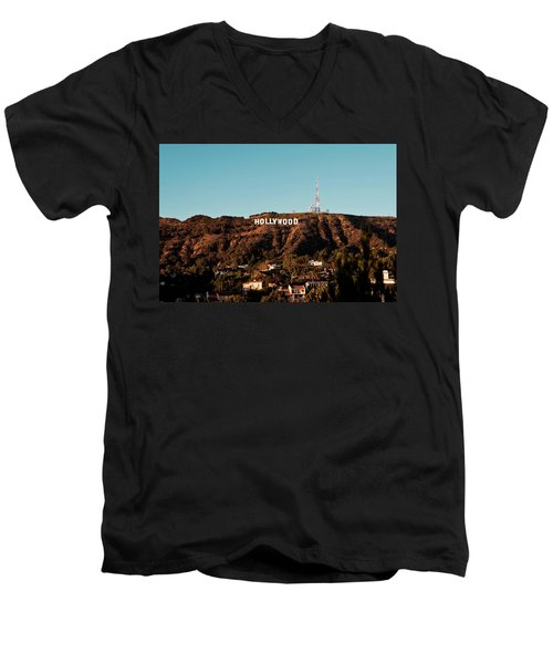 Hollywood Sign At Sunset Men's V-Neck T-Shirt