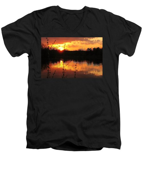 Horn Pond Sunset 8 Men's V-Neck T-Shirt