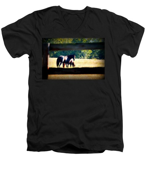 Men's V-Neck T-Shirt featuring the photograph Horse Photography by Peggy Franz
