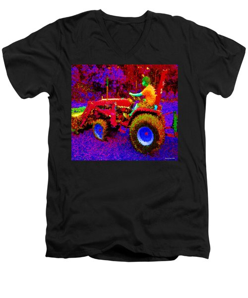 Men's V-Neck T-Shirt featuring the photograph Hot Afternoon On A John Deere Tractor by George Pedro