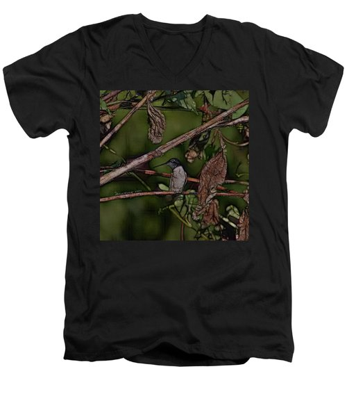 Men's V-Neck T-Shirt featuring the photograph Hummingbird Waiting For Dinner by EricaMaxine  Price