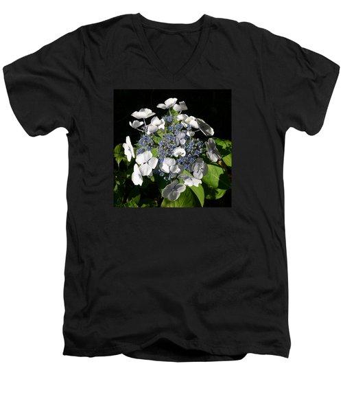 Men's V-Neck T-Shirt featuring the digital art Hydranga by Claude McCoy