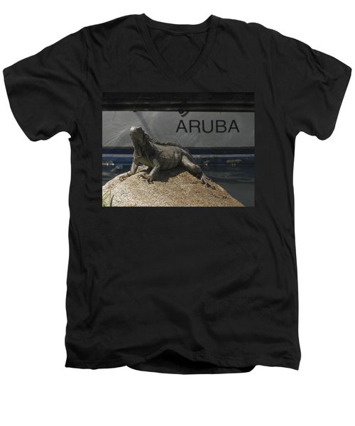 Men's V-Neck T-Shirt featuring the photograph Iguana by David Gleeson