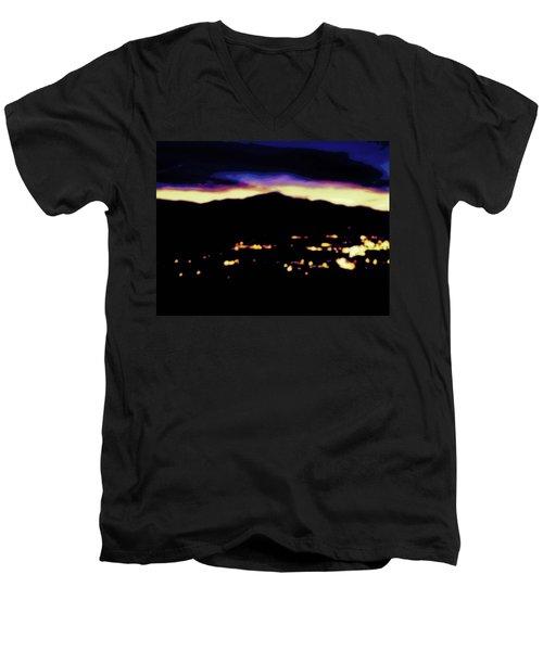 Impressionistic Pikes Peak Men's V-Neck T-Shirt by Clarice  Lakota