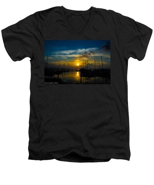 In For The  Night Men's V-Neck T-Shirt by Shannon Harrington