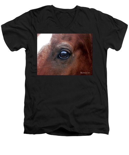 Men's V-Neck T-Shirt featuring the photograph In His Sight by EricaMaxine  Price