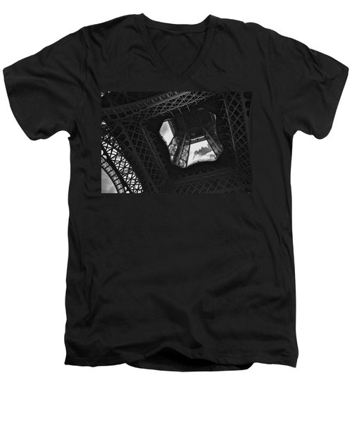 Men's V-Neck T-Shirt featuring the photograph Inside The Eiffel Tower by Eric Tressler