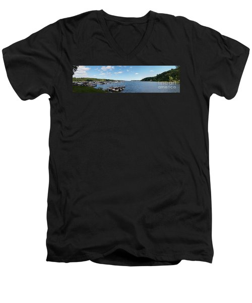 Men's V-Neck T-Shirt featuring the photograph Irondequoit Bay Panorama by William Norton