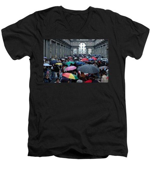 It Rains Men's V-Neck T-Shirt by Vivian Christopher