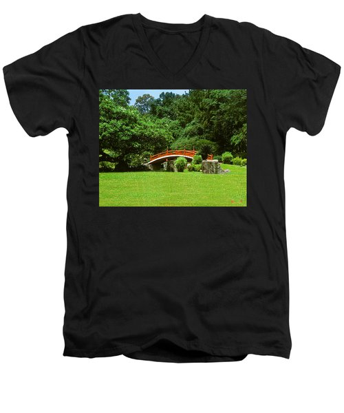 Men's V-Neck T-Shirt featuring the photograph Japanese Garden Bridge 21m by Gerry Gantt