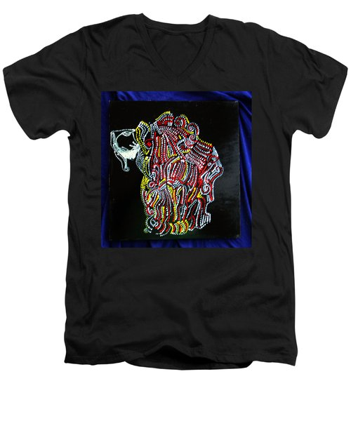 Men's V-Neck T-Shirt featuring the painting Japanese Opera - Noh by Gloria Ssali