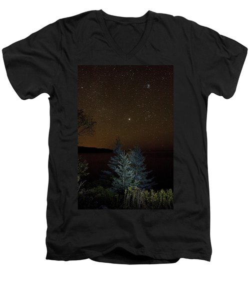Jupiter  Over Otter Point 3 Men's V-Neck T-Shirt by Brent L Ander