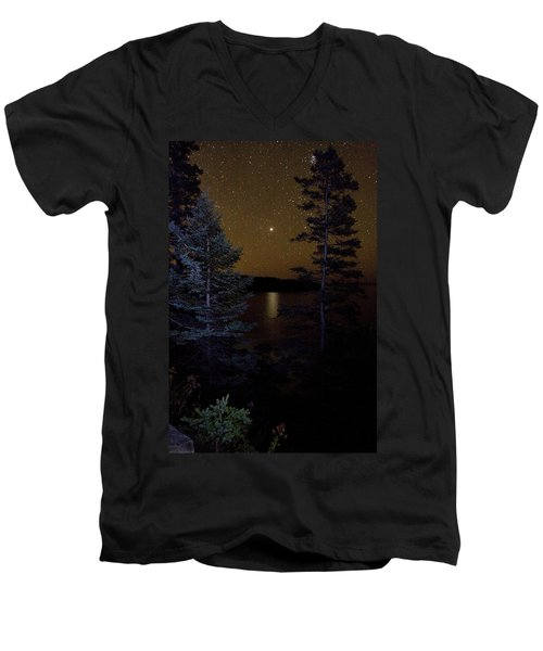 Jupiter Rising Over Otter Point Men's V-Neck T-Shirt by Brent L Ander