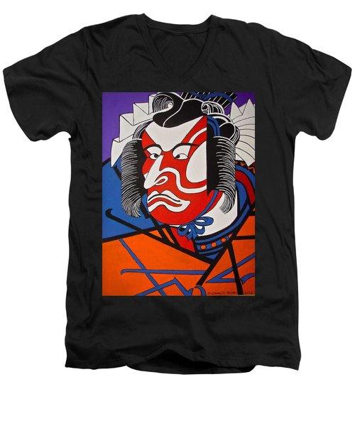 Kabuki Actor 2 Men's V-Neck T-Shirt by Stephanie Moore