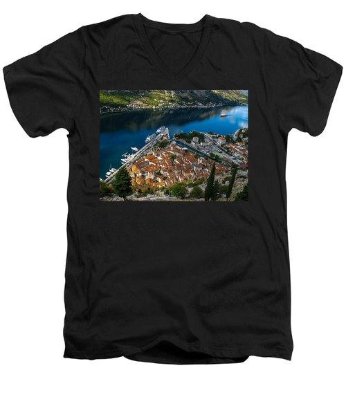 Men's V-Neck T-Shirt featuring the photograph Kotor Montenegro by David Gleeson