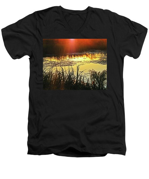 Men's V-Neck T-Shirt featuring the photograph Lacassine Sundown by Lizi Beard-Ward