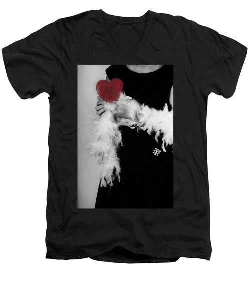 Lady With Heart Men's V-Neck T-Shirt by Joana Kruse