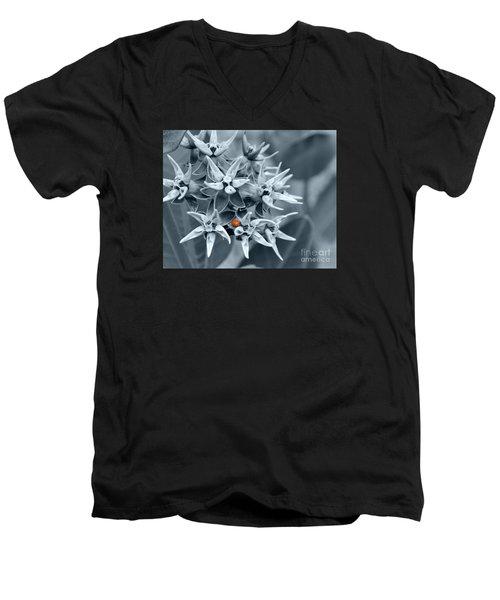 Ladybug Flower Men's V-Neck T-Shirt by Rebecca Margraf