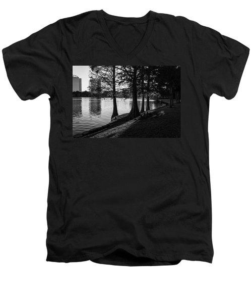 Lake Eola Water Edge Men's V-Neck T-Shirt by Lynn Palmer