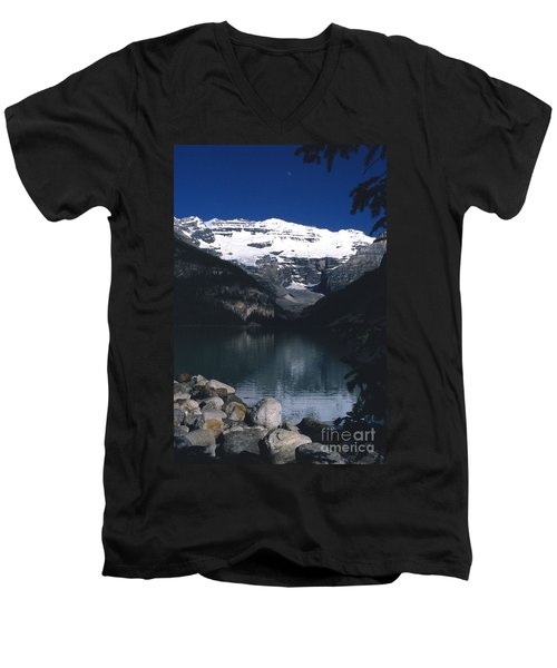 Men's V-Neck T-Shirt featuring the photograph Lake Louise II by Sharon Elliott