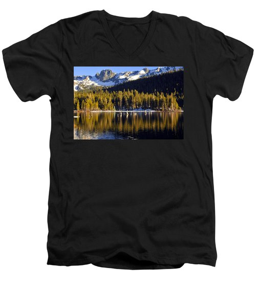 Men's V-Neck T-Shirt featuring the photograph Lake Mary Reflections by Lynn Bauer