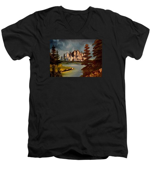 Men's V-Neck T-Shirt featuring the painting Lakeview by Maria Urso