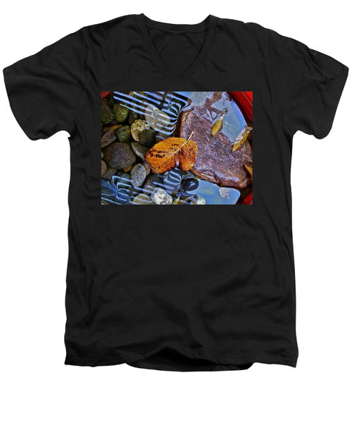 Men's V-Neck T-Shirt featuring the photograph Leaves Rocks Shadows by Bill Owen