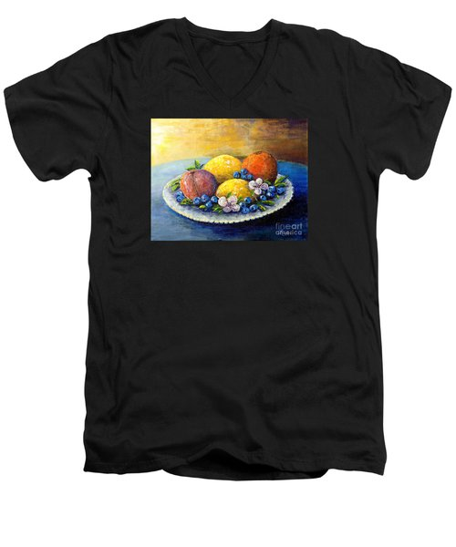 Men's V-Neck T-Shirt featuring the painting Lemons And Blueberries by Lou Ann Bagnall